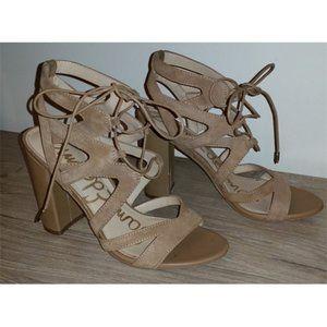 Sam Edelman Yardley suede lace up sandals heels 9